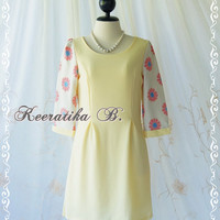 Miss Vintage Dress - Adorable Vintage Inspired Yoke Dress Yellow Dress Floral 3/4 Sleeve Party Dress Tea Dress Day Dress