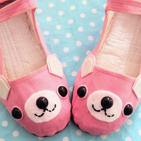 Bear Shoes - Pink Happy Animal Mary Janes - Sizes (5, 6, 7, 8, 9, 10)