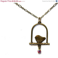 50% OFF SALE Sweet Bird Necklace. Brass Charm and Chain Jewelry