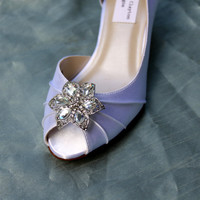 Poinsettia Wedding Shoes Low Heel - Crystal Heels - Wide Wedding shoes Available