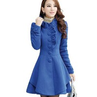 Women Lady Slim Fit Woolen Cotton Blend Ruffles Collar PeaCoat Trench Outerwear