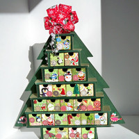 Christmas Countdown Calendar - Advent Calendar - Christmas Decorations - Green Christmas Tree