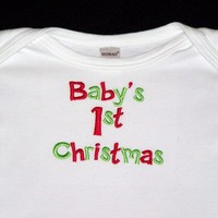 Babys 1st Christmas Embroidered Onesuit Bodysuit Limited Sizes