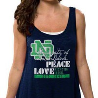 Notre Dame Fighting Irish Women's Navy Beach Love Hi-Low Burnout Tank Top