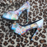 Disney Alice in Wonderland Vintage peep-toe pin up decoupage glitter heels