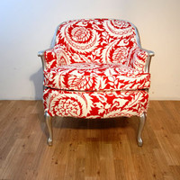 Red/ White/ Silver Curved-Back Modern Armchair