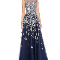 Petal-Embroidered Tulle Gown, Navy