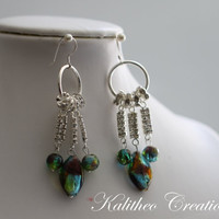 Womens Jewellery. Dangle Earrings. Multi-Coloured Foil Glass Beaded Earrings