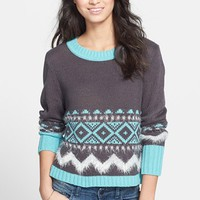 Rubbish® Textured Fair Isle Sweater (Juniors) | Nordstrom