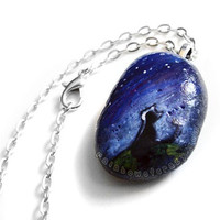 Black Cat Pendant Necklace, Hand Painted Stone, Pet Accessory, Beach Stone, Beach Rock Jewelry, Starry Night Sky, Cat Silhouette