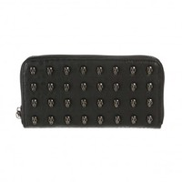 Jett Studded Skull Zip Wallet Black