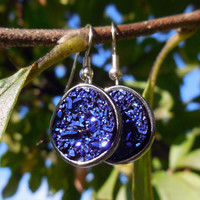 Blue Purple Druzy Drop Earrings