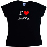 I Love Heart Giraffes Black Ladies T-Shirt
