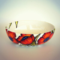 Poppies Ceramic Bowl Hand Painted Orange Red Poppy Flowers Green Leaves Nature Illustrated Modern Fall Home Decor White Decorative Bowl