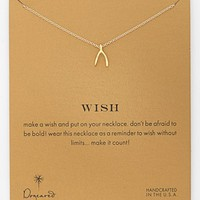 Dogeared 'Reminder - Wish' Boxed Wishbone Pendant Necklace