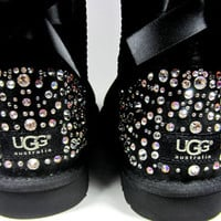 EXCLUSIVE - Swarovski Crystal Embellished Bailey Bow Uggs in Sparkly Night (TM) - Winter / Holiday Bling UGGs 2013