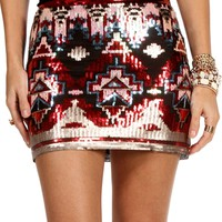 Burgundy/Black Tribal Sequin Mini Skirt