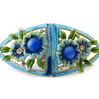 CORO DUETTE Enamel Flower Brooch / Signed Blue Moonglow Rhinestone Fur Clips / Vintage 1940s Jewelry