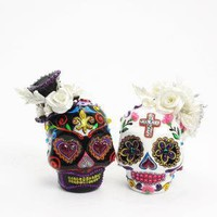 Day of Dead Skull wedding cake topper / Salt by sweetiecaketopper