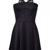 The Flare Lace Neck Black Dress