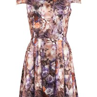 CS Satin Floral Skater Dress