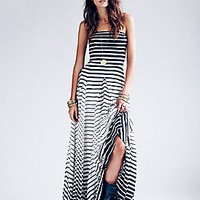 Michelle Pleated Striped Maxi