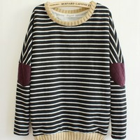 Blue Leisure Retro Stripe Cloth Sleeve Women's Sweater