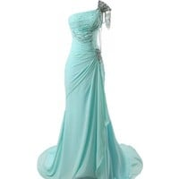 Winey Bridal Beaded Shiny One-shoulder Aqua Long Prom Evening Dresses (2 (Bust 33'' Waist 25'' Hips 35.5'' ), Picture Aqua Color)