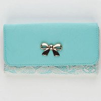 Bow Lace Overlay Wallet Mint One Size For Women 21203352301