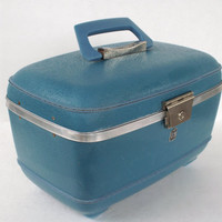 Vintage Blue Train Case Small US Luggage Toiletry or Make Up Tote