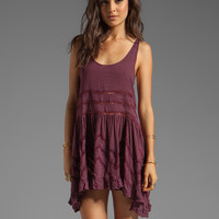 Free People Lace and Voile Trapeze Dress in Plum