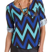 Stud Pocket Chevron Blouse: Charlotte Russe