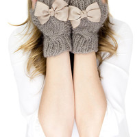 CHUNKY TAN KNIT mittens, fingerless knit gloves with bow, black knit gloves, knit bow gloves, wool