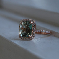 4.46ct Jasmine green Aquamarine halo diamond ring cushion cut 14k rose gold engagement ring- made to order
