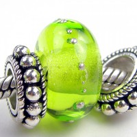 Transparent Light Grass Green Handmade Glass Lampwork Bead BHB Silver
