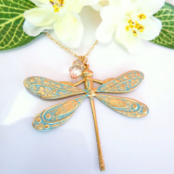 Light blue dragonfly Swarovski crystal necklace, whimsical dragonfly necklace