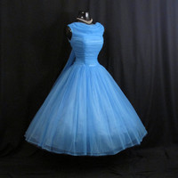 Vintage 50's 50s Sky BLUE Ruched Chiffon Organza Party PROM Wedding Dress