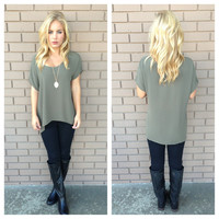 Olive Short Sleeve Blouse