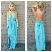 Sea Blue Empress Maxi Dress