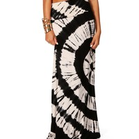 SALE-Black Circular Tie Dye Maxi Skirt