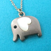 Small Elephant Animal Charm Necklace in Dark Silver with Heart