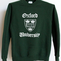 Oxford University Raglan Sweatshirt Shirt Mens Small Unisex Womens Green England College