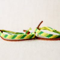 Friendship Bracelet Set for Friends or Couples Green and Yellow Ombre