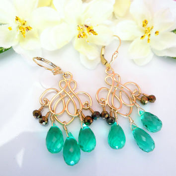 Emerald green quartz pyrite gold chandelier earrings, wizard of oz earrings, emerald city green earrings