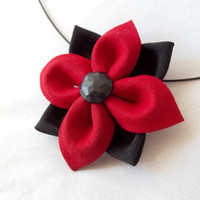Kanzashi Flower Pendant Red and Black