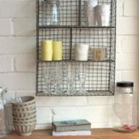 Wall Mounted Wire Storage Shelving Unit - Zinc