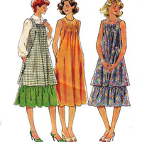 Tent Dress Hippie Top & Skirt 1970s Vintage Sewing Pattern Style 2346 Size 12 Bust 34