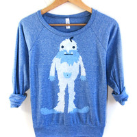 Yeti - HAND STENCILED Slouchy Eco Heather Deep Scoop Neck Lightweight Womens Sweatshirt in Ice Blue - S M L