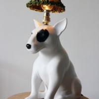 Mungo Bull Terrier Dog Table Lamp by Abigail Ahern