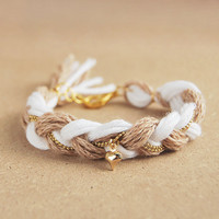 Friendship bracelet, white and beige braid bracelet with heart charm, organic cotton